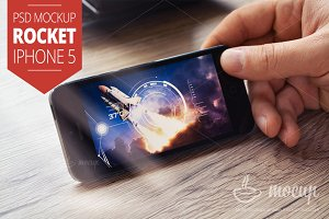 iPhone 5 PSD Mockup Rocket
