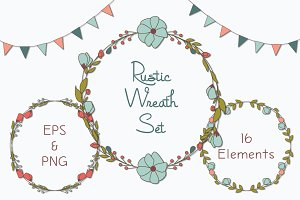 Rustic Wreaths Clipart, PNG & EPS