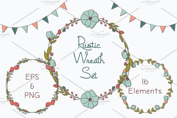 Rustic Wreaths Clipart PNG EPS Illustrations Creative Market