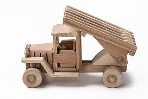 Wooden toy car models.