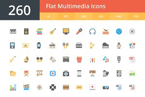 260 Flat Multimedia Icons