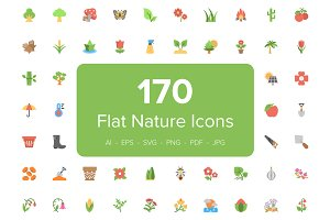 170 Flat Nature Icons