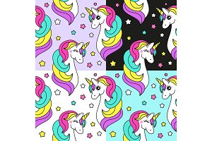 Cute set of childish seamless patterns with cartoon character of magic unicorn