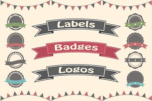 Set of 30 badges, labels and logos