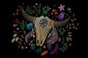 Embroidery. Skull of a cow