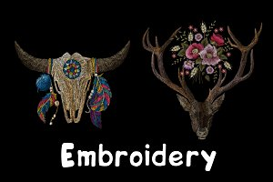 Embroidery. Deer and Skull