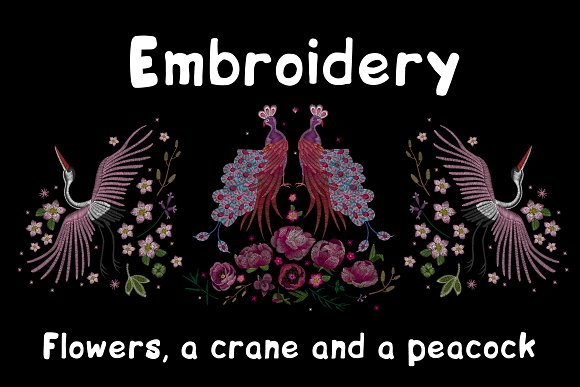 Embroidery Crane And Peacock