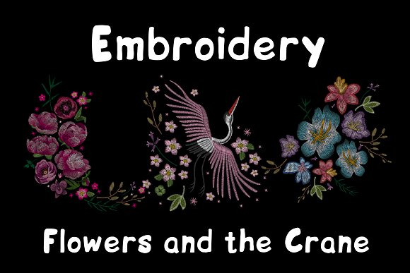 Embroidery Flowers And The Crane