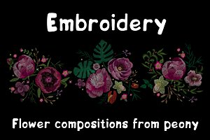 Embroidery. Flowers peonies