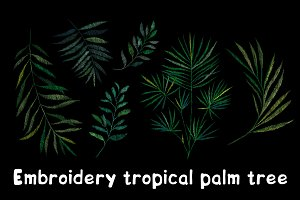 Embroidery. Tropical palm tree