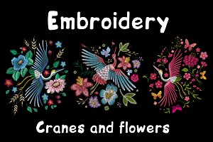 Embroidery. Cranes and flowers