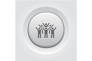Teamwork Icon. Grey Button Design