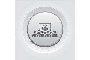 Training Icon. Grey Button Design