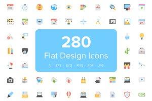 280 Flat Design Icons