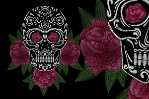 Embroidery. Skull and roses