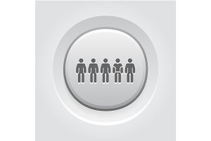 Team Icon. Flat DeGrey Button Designsign.