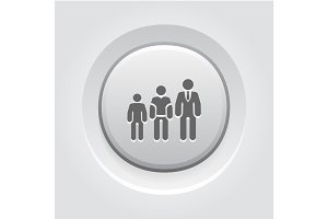 Career Growth Icon. Grey Button Design.