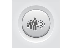 Management Icon. Grey Button Design.