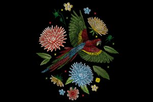 Embroidery. Parrot and dahlia