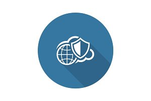 Safety Global Cloud Icon. Flat Design.