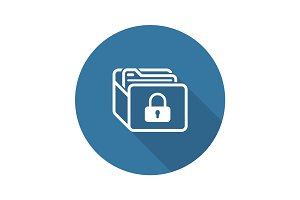 Database Security Icon. Flat Design.