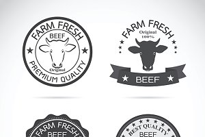 Set of vector cow labels. Farm.
