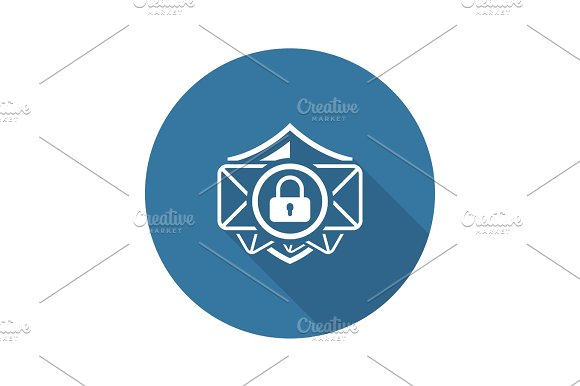 Email Security Icon Flat Design
