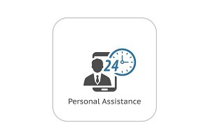 Personal Assistance Icon. Flat Design.