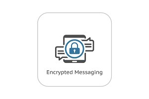 Encrypted Messaging Icon. Flat Design.