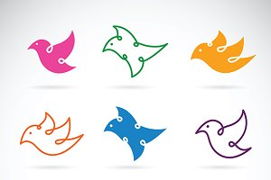 Vector group of bird design. icon