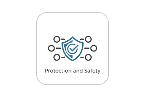 Protection and Safety Icon. Flat Design.