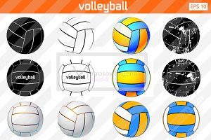 Silhouette of a volleyball ball. Set