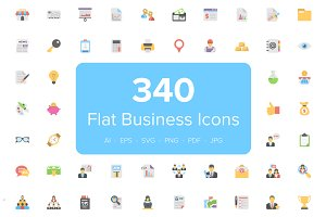 340 Flat Business Icons