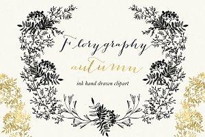 Florygraphy. Autumn. Ink clipart