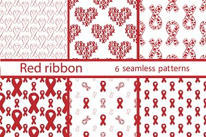 Set seamless pattern of red ribbon