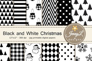 Black & White Christmas Digital Pape