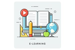 E-learning, online education. Flat line art style concept.
