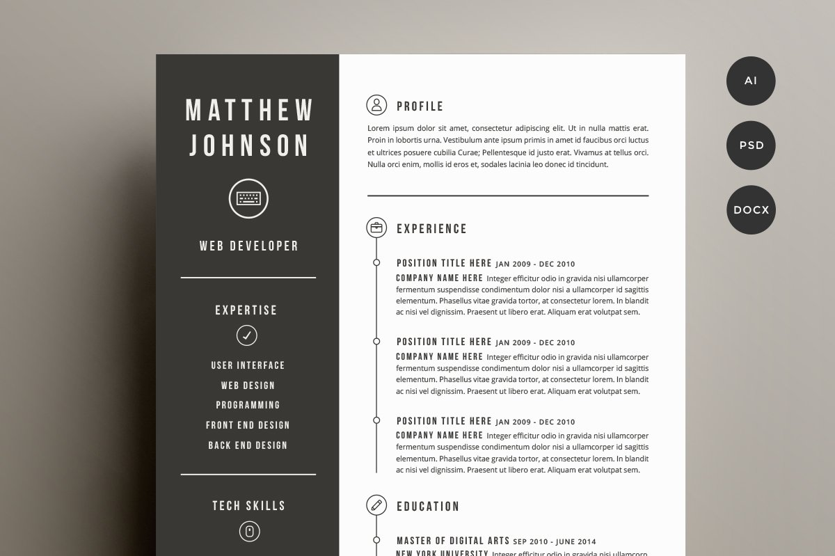 resume cover letter template resume templates creative market - Free Designer Resume Templates