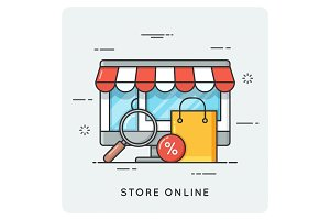 Store online. Flat line art style concept.