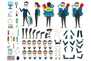 School Boy Character Animation Set.