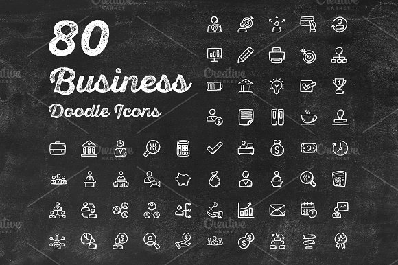 80 Business Doodle Icons
