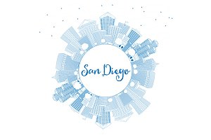 Outline San Diego Skyline