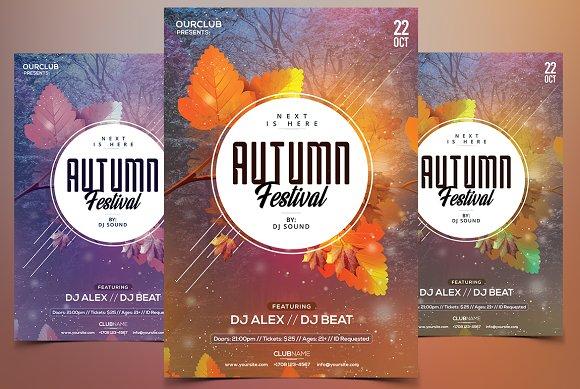 autumn festival psd flyer template flyer templates creative market