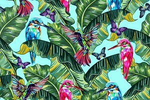 Exotic birds,tropical leaves pattern