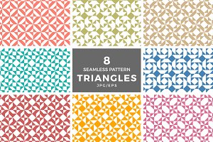 8 seamless triangles pattern vectors