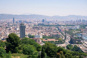 Barcelona, Catalonia, Spain - June 12, 2017: Cityscape seen from above
