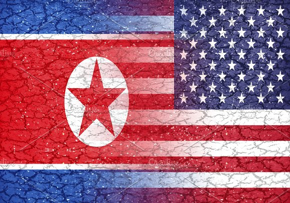 North Korea Vs Usa Conflict Concept Background