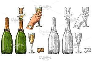 Set Champagne explosion bottle glass