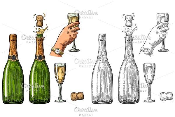 Set Champagne explosion bottle glas…