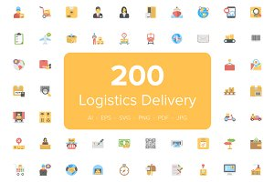 200 Flat Logistics Delivery Icons